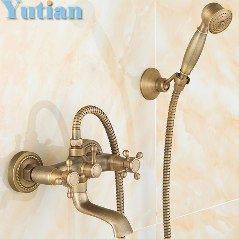 Free shipping  Bathroom Bath Wall Mounted Hand Held Antique Brass Shower Head Kit Shower Faucet Sets YT-5338 antique brushed brass bathroom faucet bath faucet mixer tap wall mounted hand held shower head kit shower faucet sets hf 6656f