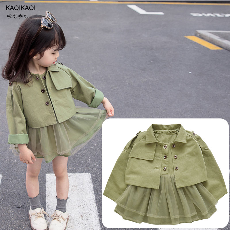 Kids clothing cotton trench girls princess dress Childrens windbreaker + Dress sleeveless two-piece set 2019 Spring Autumn coatKids clothing cotton trench girls princess dress Childrens windbreaker + Dress sleeveless two-piece set 2019 Spring Autumn coat