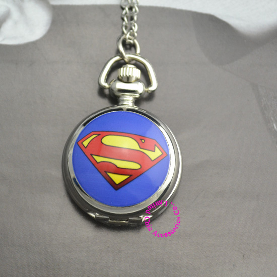 Cute Blue DC Superhero The Superman Pocket Watch Necklace Hour Wholesale Price Good New Fashion Women Girl Lady Antibrittle