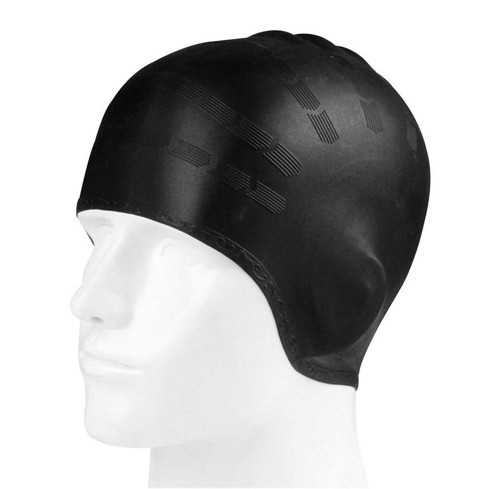 Gorros de natación impermeables para adultos y hombres, gorro de natación de pelo largo, para piscina, gorra de protección para oídos, grande, de silicona