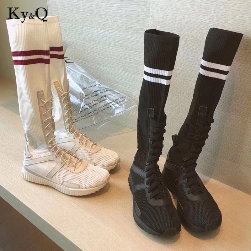 Classic Casual sneakers Flat Boots Women Summer Autumn Winter Boots Knee High Boots Creeper Heels Stretch Fabric Boots Ladies 2015 autumn shiny piece fight color stretch fabric square head women s boots flat boots in europe and america tide personality