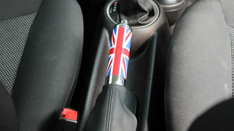 High quality Mini Handbrake Grips Titanium Alloy Modified Car Parking Brake Cover Countryman Car Styling Decoration Union jack high quality mini handbrake grips
