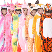 New Children's Animal Pajamas Winter Warm Girl Boy Kids Pajama Cartoon unicorn Stitch Panda Cosplay onesie Hooded Cute Sleepwear(China)
