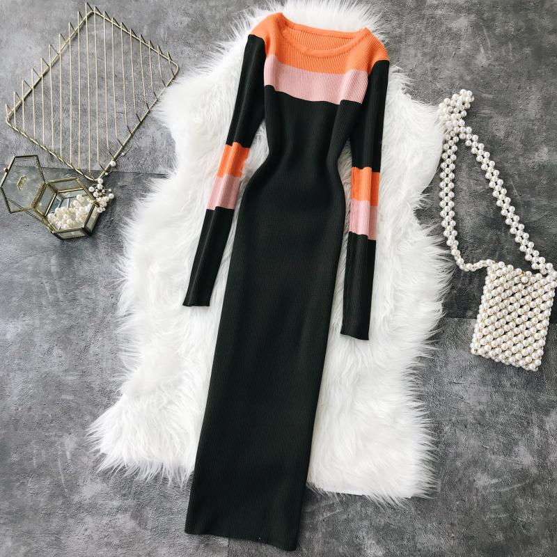 Women Dress Spring Fall 2019 Striped Knitted Elegant Slim Bodycon Knee Length Black Red Pink Quality Sweater Dresses