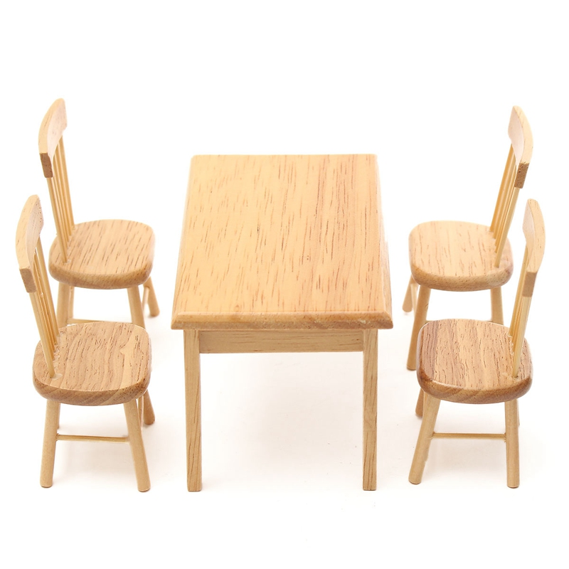 5Pcs/set 1/12 Scale Miniature Wooden Dining Chair Table
