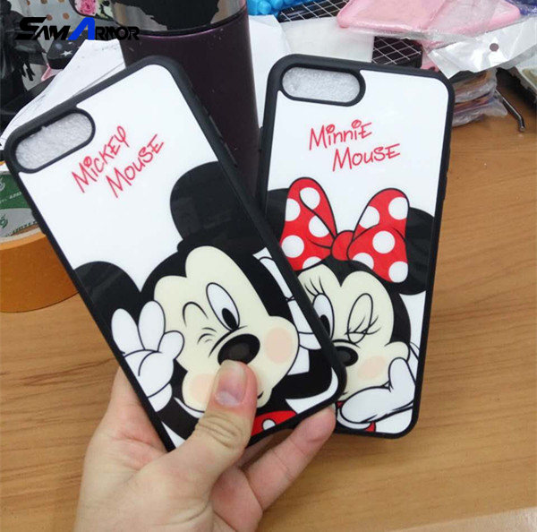 Mirror Cartoon Lovers Mickey Mouse Minnie cover soft TPU silicon For iPhone 7 Case For iPhone 7 Plus Cases funda Coque