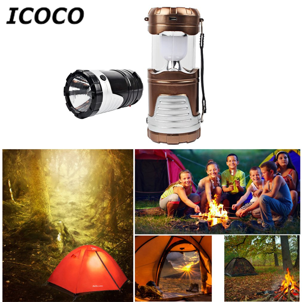 ICOCO Solar Camping Light LED Rechargeable Hand Lamp Tent Lantern Light USB Port Charging for Mobile for Hiking Campping Sale