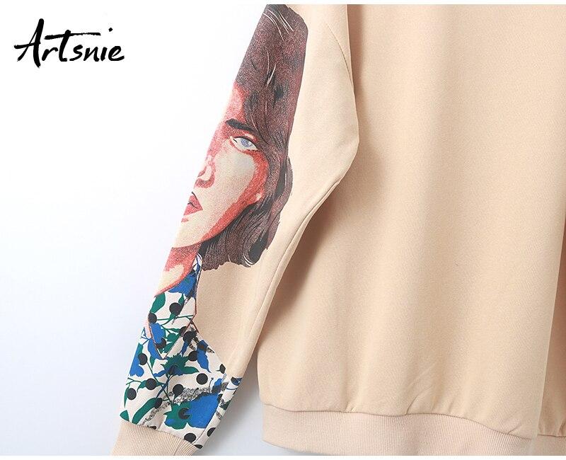 Artsnie streetwear character print women sweatshirt spring 19 o neck long sleeve pullover knitted oversized hoodie sweatshirts 14