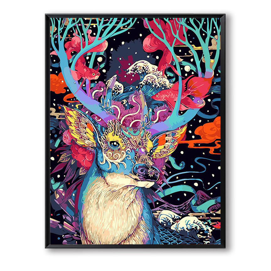 Christmas Deer Animals DIY Painting By Numbers Kits Handpainted Oil Painting On Canvas Unique Gift For Home Wall Artwork FSZ-7