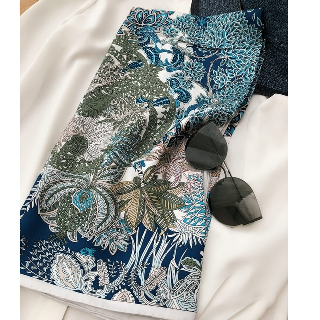 """מדהים כחול הדפסי 100% משי צעיף חיג אב ראש צעיפים לנשים אופנה צעיפי צעיף צעיף 35"""""""