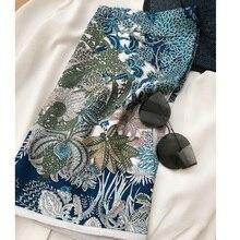 """Bufanda de seda 100% con estampado azul para mujer, hiyab, moda, 35"""""""