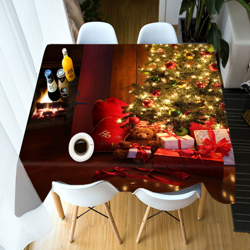 Customize 3D Tablecloth Christmas Tree Theme Pattern Table Cloth Washable Polyester Cloth Rectangular/Round Dining Table Cover
