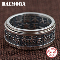 BALMORA 100 Real 925 Sterling Silver Buddhist Texts Rings For Men Gifts Religious Jewelry Thai Silver