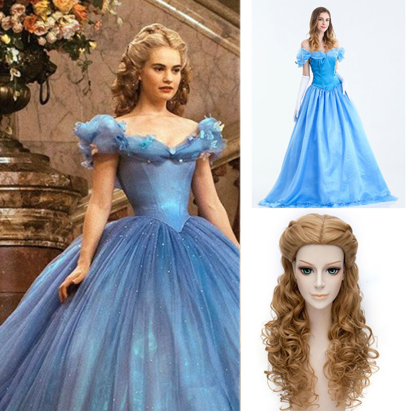 NEW Adult Princess Cinderella Costume Cosplay Deluxed Stage Fancy Dress S-XXXL #