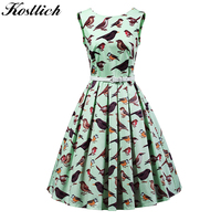 Kostlish 2017 Retro Summer Dress Women Sleeveless A Line Vintage Dress With Belt Bird Print Ladies