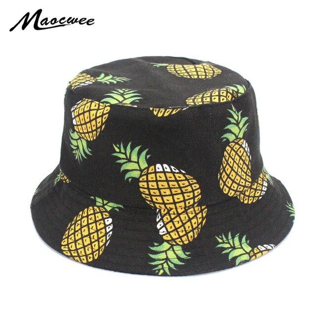 Bordado pescador divertido fresco fruta piña sombrero hombres mujeres  deportes al aire libre fresco verano cubo 7a9d93da1d0