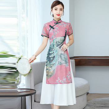 2020 ao dai vietnam aodai cheongsam dress vietnam clothing vietnam traditional dress oriental dress for women flower printing фото