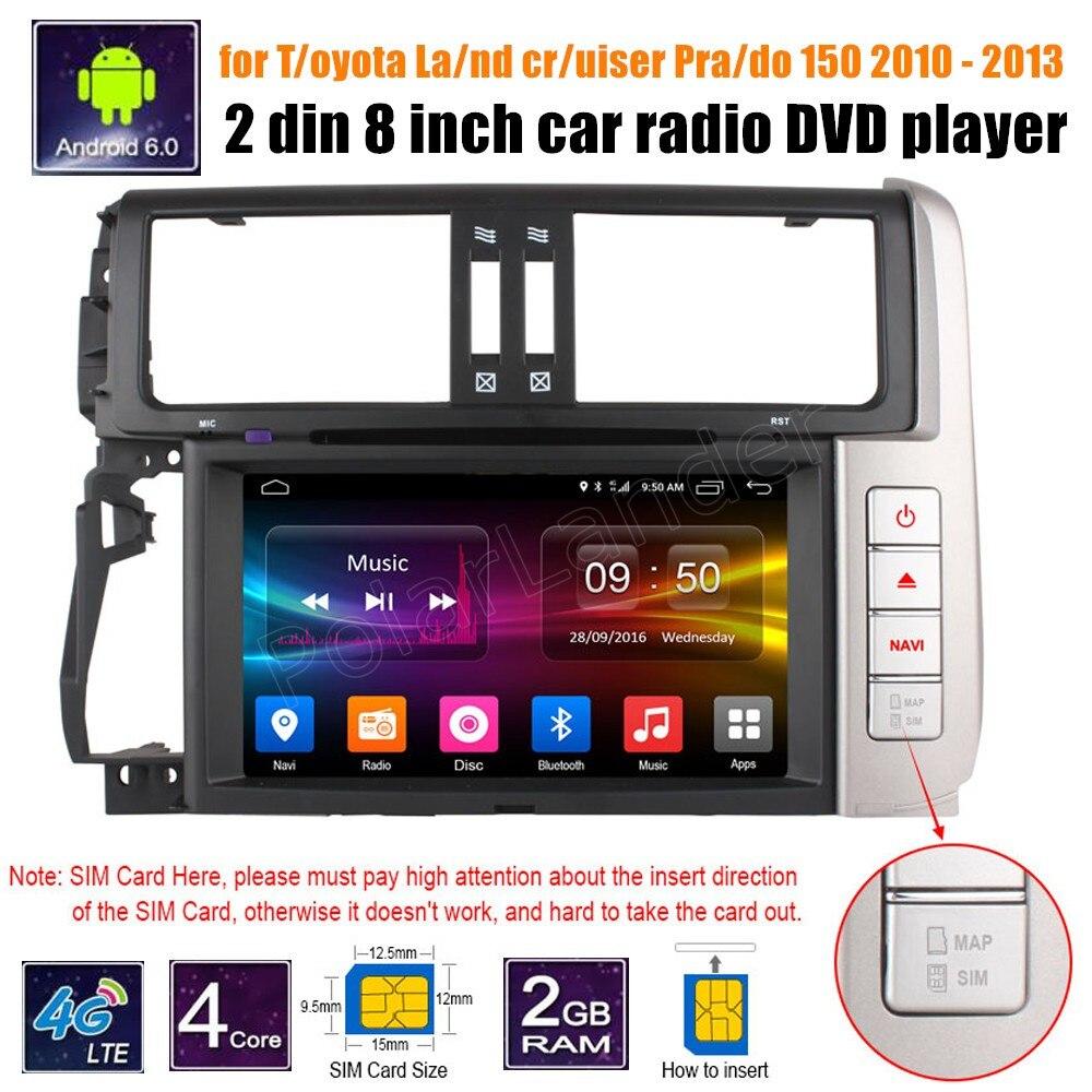 2 din 8 pouces Android 6.0 lecteur DVD de voiture pour Toyota Land cruiser Prado 150 2010-2013 GPS Navigation écran tactile