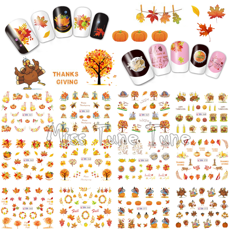 Thanksgiving Nail Art Water Transfer Nail Stickers Decal Tips Harvest Holiday Autumn Maple Leaves Pumpkins Turkey harvest hunting