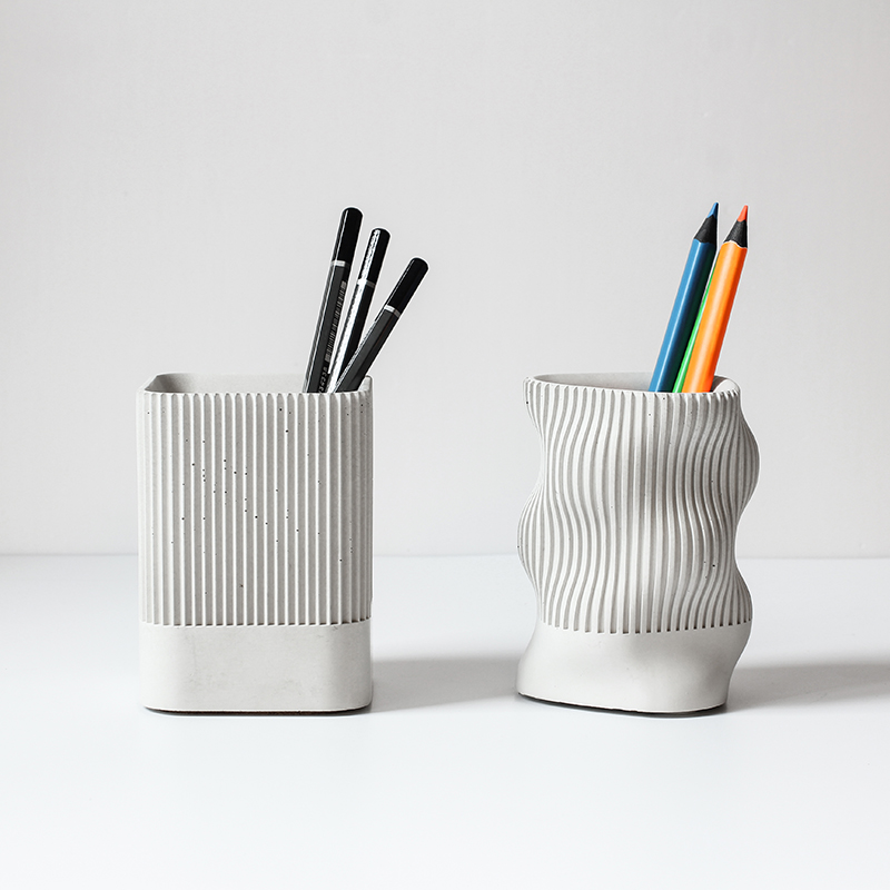 Concrete Pen Holder Silicone Mold Multi-functional Cement Stationery Mold Desktop Simple Plaster Furnishing Mold