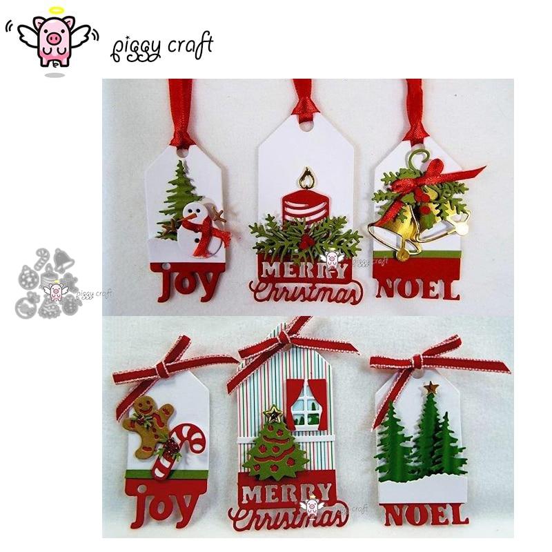Piggy Craft Metal Cutting Dies Cut Die Mold 8Pcs Christmas Decoration Scrapbook Paper Craft Knife Mould Blade Punch Stencils Die