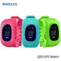Wonlex Perdida Anti Q50 OLED Niño GPS Tracker SOS Inteligente Teléfono Niños de monitoreo de Posicionamiento GPS Reloj Compatible con IOS y Android