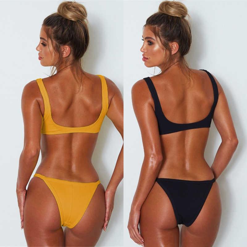 Kobiety dwa Piece pływanie zestawy moda jednolity kolor dwuczęściowy krótki top i figi lato Sling Stripless zestawy