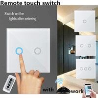 EU Standard SESOO 2 Gang 1 Way Touch Switch Crystal Glass Panel Light Touch Switch Single