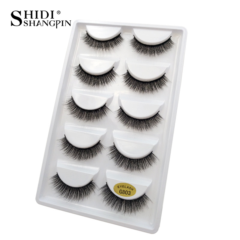 Image 3 - SHIDISHANGPIN 50 pairs natural long false eyelashes fluffy 3d mink lashes make up 100% cruelty free fake eyelash faux cils G803False Eyelashes   -