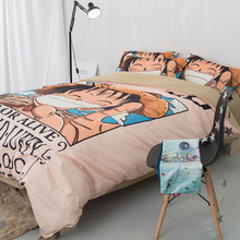 Japanese style cartoon one Piece Anime Bedding Set 3/4pcs Twin Queen King Size Duvet Cover soft pillowcase Teen kid Boy bedroom