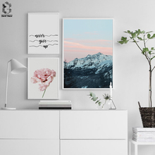 Flower Canvas Poster Nordic Print Minimalist Motivation Quotes Wall Art Painting Landscape Scandinavian Decoration Picture