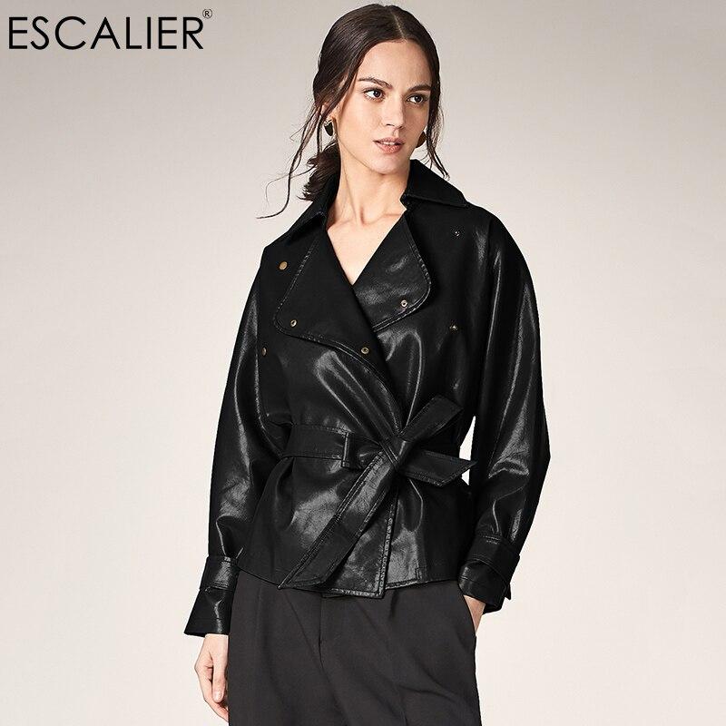 ESCALIEA Women's Loose Washed PU Leather   Jacket   Fashion Sashes Design Bright Colors Coats New Ladies   Basic     Jackets