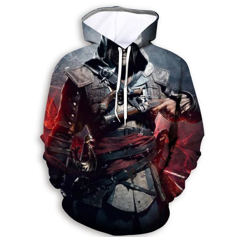Assassin 3D Print Hoodies Funny Cool Fighting Game Pullover Unisex Casual Sweatshirt Punk High Street Tops Outfit Homme Jumper image