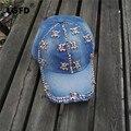 LGFC0124 Mujeres NIÑAS jeans sombrero DEL CRÁNEO de Los Rhinestones de BLING Bling algodón Snapback caps mujer azul Denim gorra de Béisbol