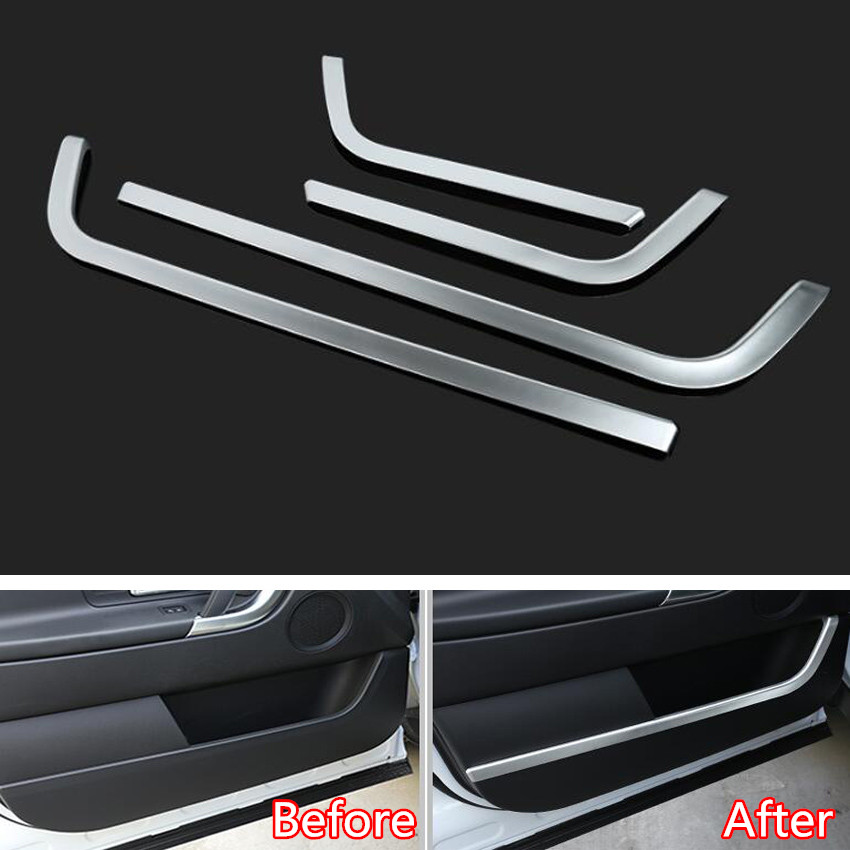 YAQUICKA 4Pcs/set Car Interior Door Decoration Strips Trim Sticker Styling For Land Rover Discovery Sport 2015 2016 2017 yaquicka carbon fiber style 4x car interior door side panel cover strips trim for land rover discovery 5 2017 car styling covers