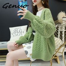 Genuo New 2019 spring new women candy color large pocket sweater coat female Korean version of loose casual