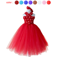 Rojo mullido Tutu vestido para niñas princesa flor de la perla centro 2 capas hecho a mano de los bebés con la venda