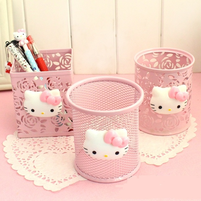 Kawaii O Kitty Pink Hollow Metal Pencil Pen Holder Desk Organizer Storage Box Stand Case Student