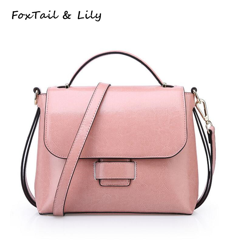 FoxTail & Lily Women Cowhide Handbag Small Vintage Shoulder Bag Ladies Crossbody Bags Genuine Leather Designer Messenger Bags imido hot sale designer genuine leather bags women shoulder bag cowhide crossbody small bags purple yellow dollar price mg020