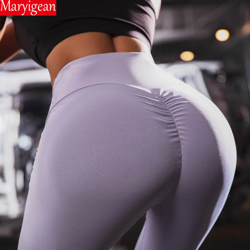 Maryigean New High Waist Leggings Women Fitness Clothes 2019 Slim Ruched Bodybuilding Women's Pants Athleisure Female Leggings Price $12.96