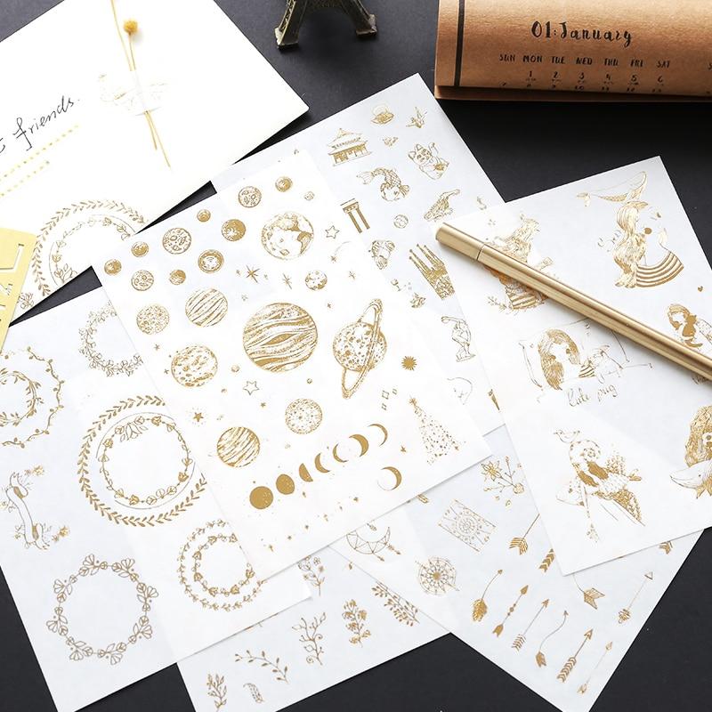 12pcs/pack Golden Paper Sticker Plant Constellation Design Paper Sticker DIY Album Scrapbooking Gold Foil Gild Deco Stickers
