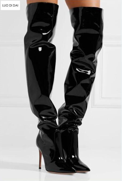 Femmes Miroir Slip Bottes En Sur Point Genou Longues 2019 Toe Chaussons Dames Botas Haute Cuir Nouvelles Cuissardes Noir W4wOcqxAY