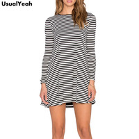 2015 Autumn Winter New Arrival Black White Striped Dresses Women S Clothing Long Sleeve Short Casual