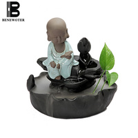 110/220V Vintage Ceramic Lovely Monk Feng Shui Water Fountain Atomization Purifying Air Decoration Decor for Wedding Gift Crafts