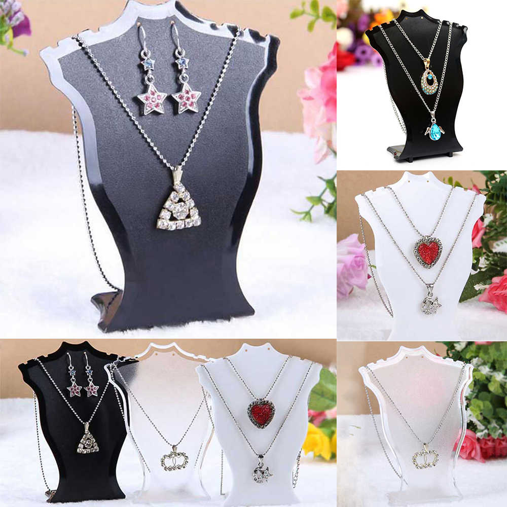 Expositor de joyas soporte para colgante, collar, cadena, pendiente, busto, exhibidor, estante negro, exhibidor