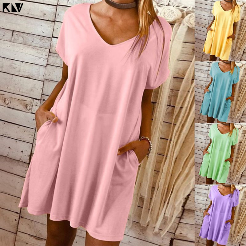 KLV Ladies Women Plus Size Casual Plain V Neck Dress Loose Long Top Solid Short Sleeve Mini Dress With Pockets