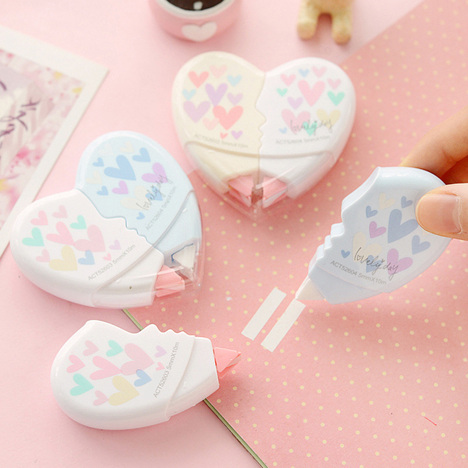 Love Heart Correction Tape 2 In 1 Material Escolar Kawaii Stationery Office School Supplies Supplie Gifts For Kids Free Shipping