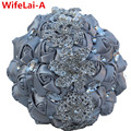 Gorgeous Silver Gray Ribbon Wedding Satin Bridal Bouquets Ramos de novia Artificial Flowers Crystal Diamond Wedding Bouquet W228