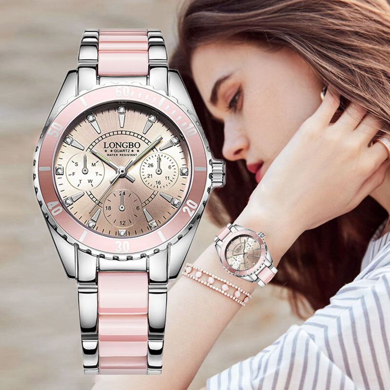 2922faea6aa Comprar LONGBO Marca Top Moda relógios Mulheres Relógio de Luxo de Cerâmica  E Liga Analógico Pulseira Relógio de Pulso Relogio feminino Montre Relogio  ...