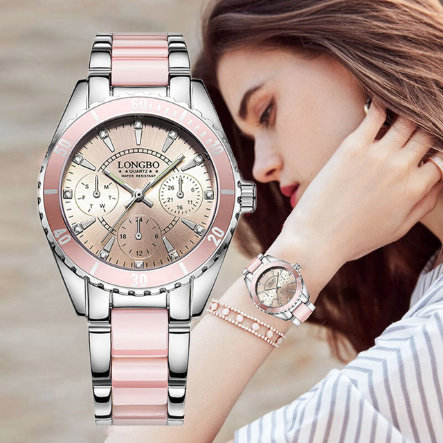 LONGBO Top Brand Fashion Watch Women Luxury Ceramic And Alloy Bracelet Analog Wr
